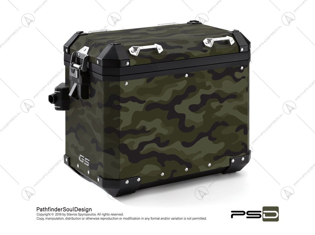 "R1250GS ADVENTURE STYLE EXCLUSIVE BMW ALUMINIUM PANNIERS ""WOODLAND M81 CAMO"" STICKERS KIT#23821"