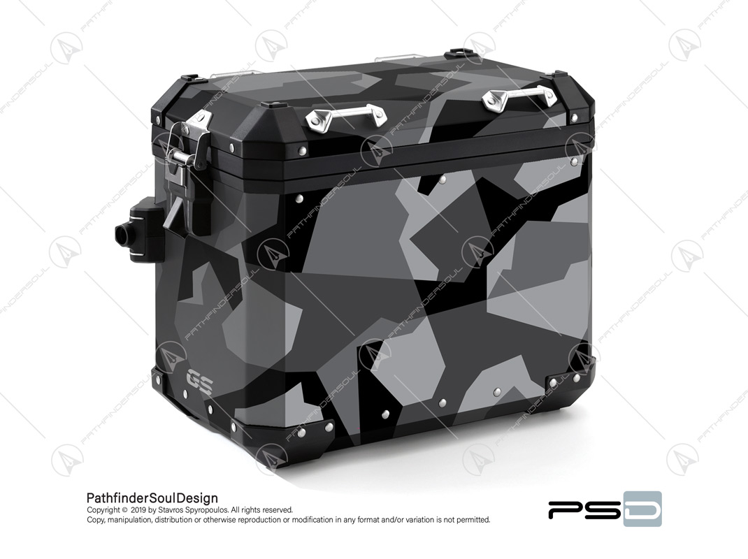 "R1250GS ADVENTURE ICE GREY BMW ALUMINIUM PANNIERS ""SWEDISH M90 CAMO"" STICKERS KIT#03237"