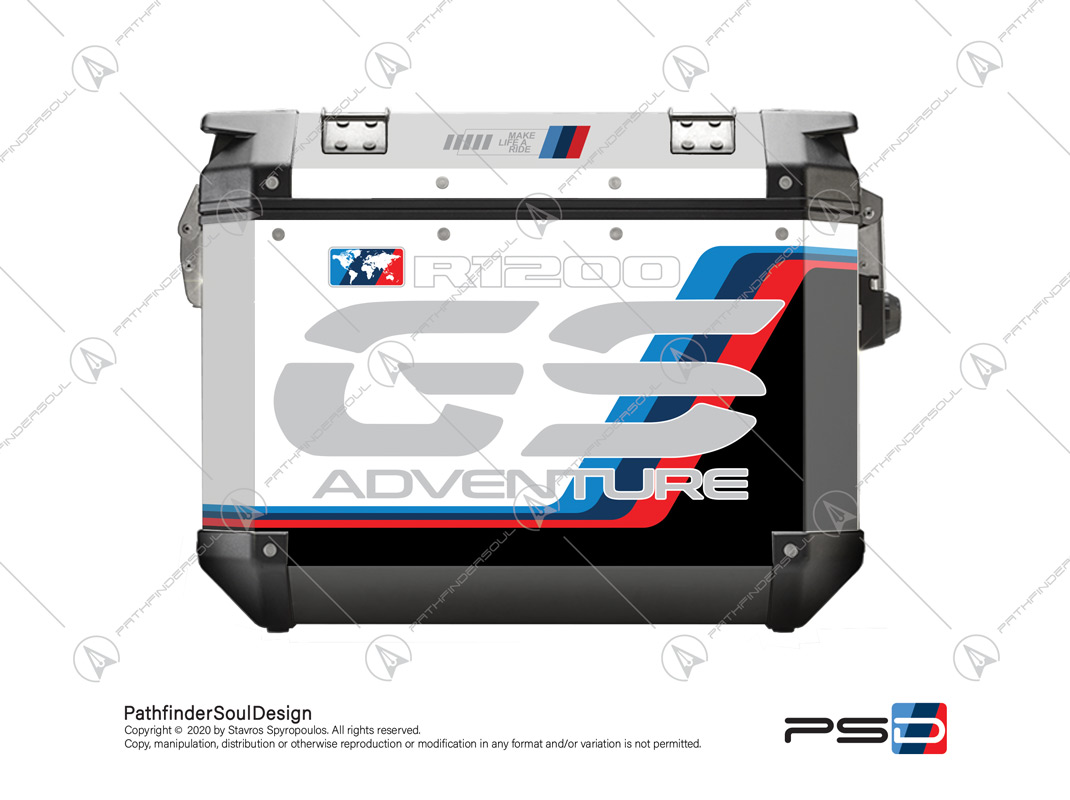 "R1200GS ADVENTURE ALPINE WHITE GIVI TREKKER OUTBACK OBK48/37 SIDE CASES ""MOTORSPORT ADV"" STICKERS KIT#18205"