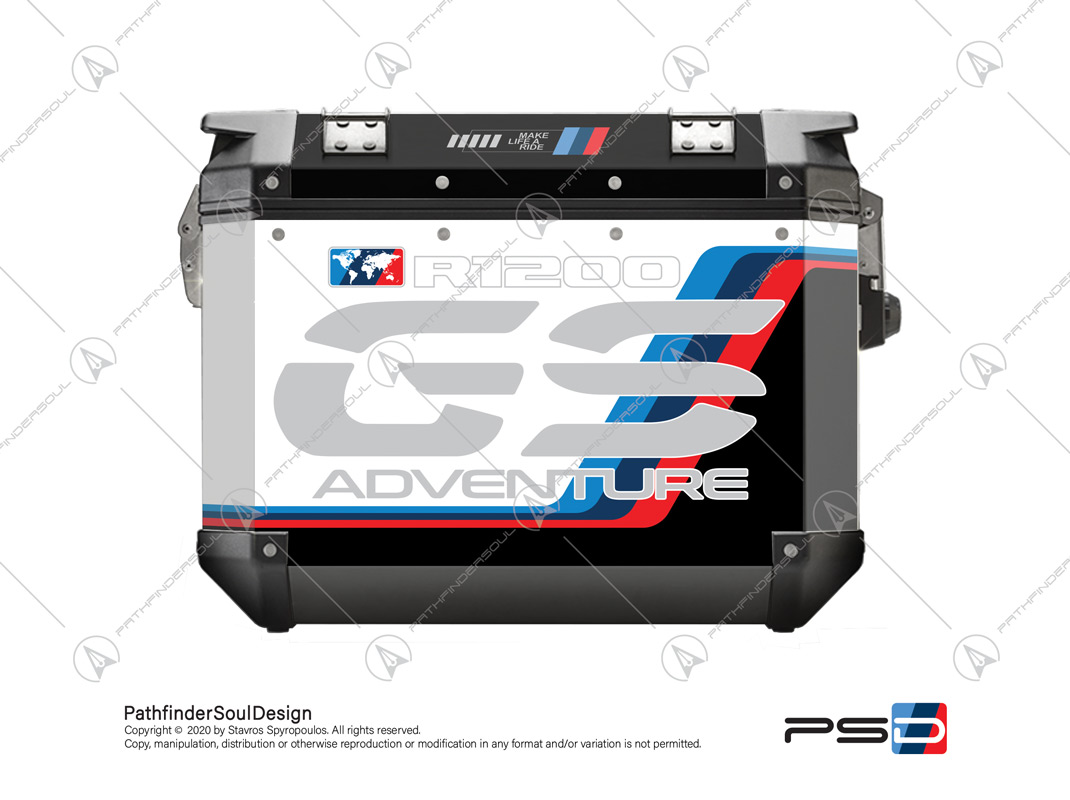 "R1200GS ADVENTURE ALPINE WHITE GIVI TREKKER OUTBACK OBK48/37 SIDE CASES ""MOTORSPORT ADV"" STICKERS KIT#18206"
