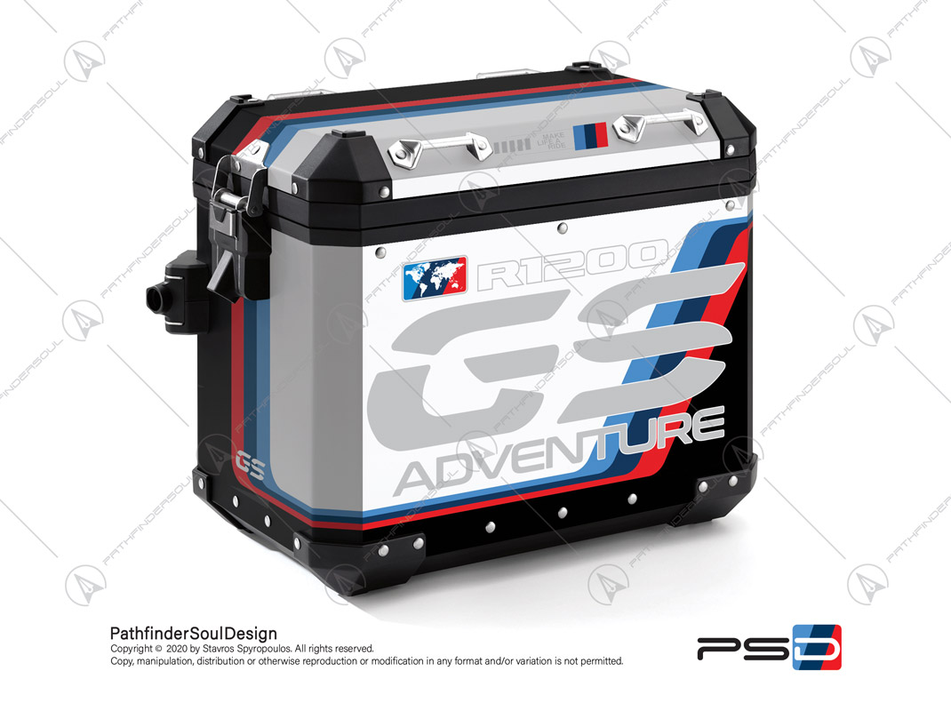 "R1200GS ADVENTURE ALPINE WHITE BMW ALUMINIUM PANNIERS ""MOTORSPORT ADV"" STICKERS KIT#18205"