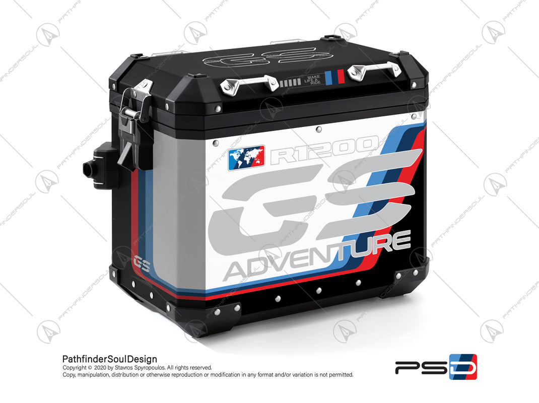"R1200GS ADVENTURE ALPINE WHITE BMW ALUMINIUM PANNIERS ""MOTORSPORT ADV"" STICKERS KIT#18206"