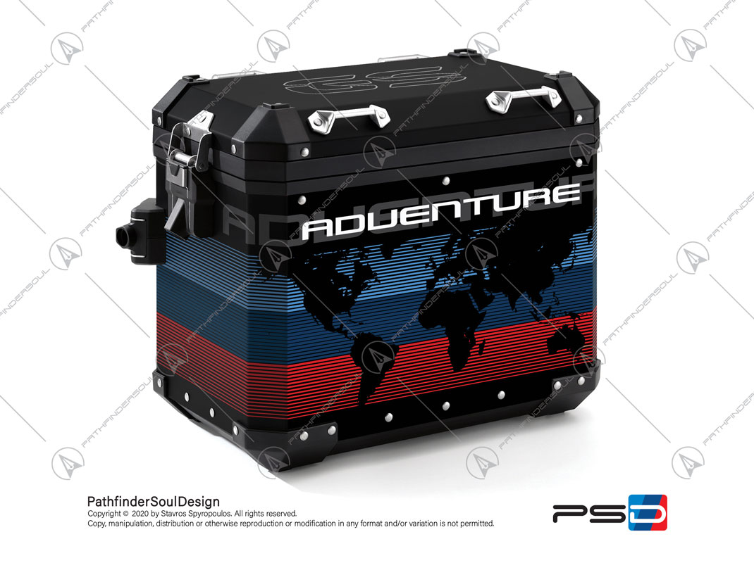 "R1200GS ADVENTURE ALPINE WHITE BMW ALUMINIUM PANNIERS ""ONE WORLD"" STICKERS KIT#42003"