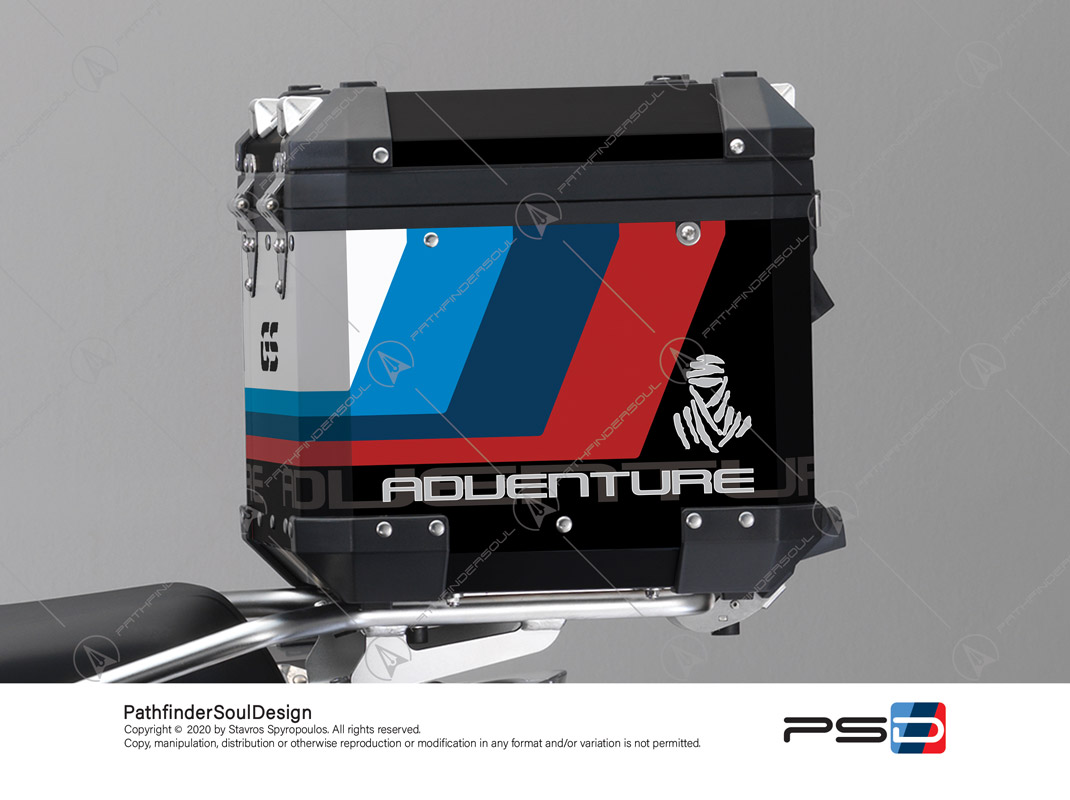 "R1200GS ADVENTURE ALPINE WHITE BMW ALUMINIUM TOP BOX ""ESSENCE"" STICKERS KIT#38291"