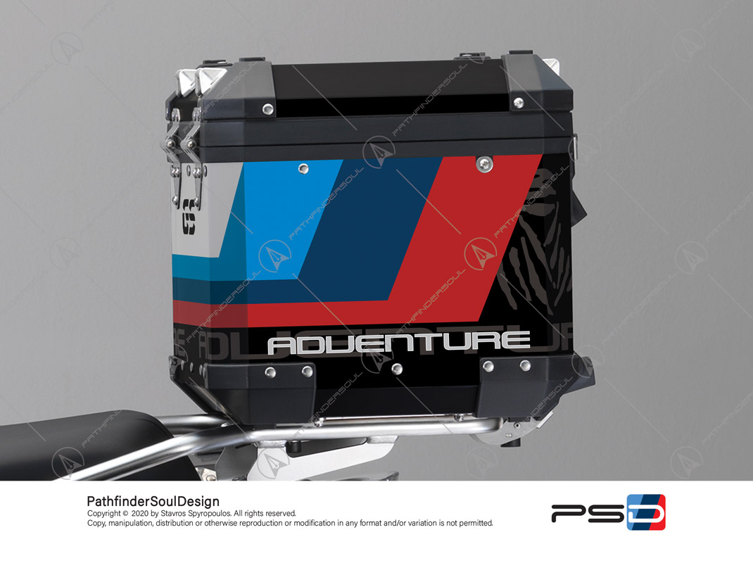 "R1200GS ADVENTURE ALPINE WHITE BMW ALUMINIUM TOP BOX ""ESSENCE"" STICKERS KIT#38292"