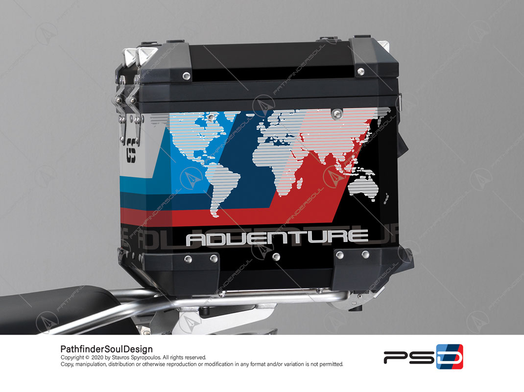 "R1200GS ADVENTURE ALPINE WHITE BMW ALUMINIUM TOP BOX ""ESSENCE"" STICKERS KIT#38294"