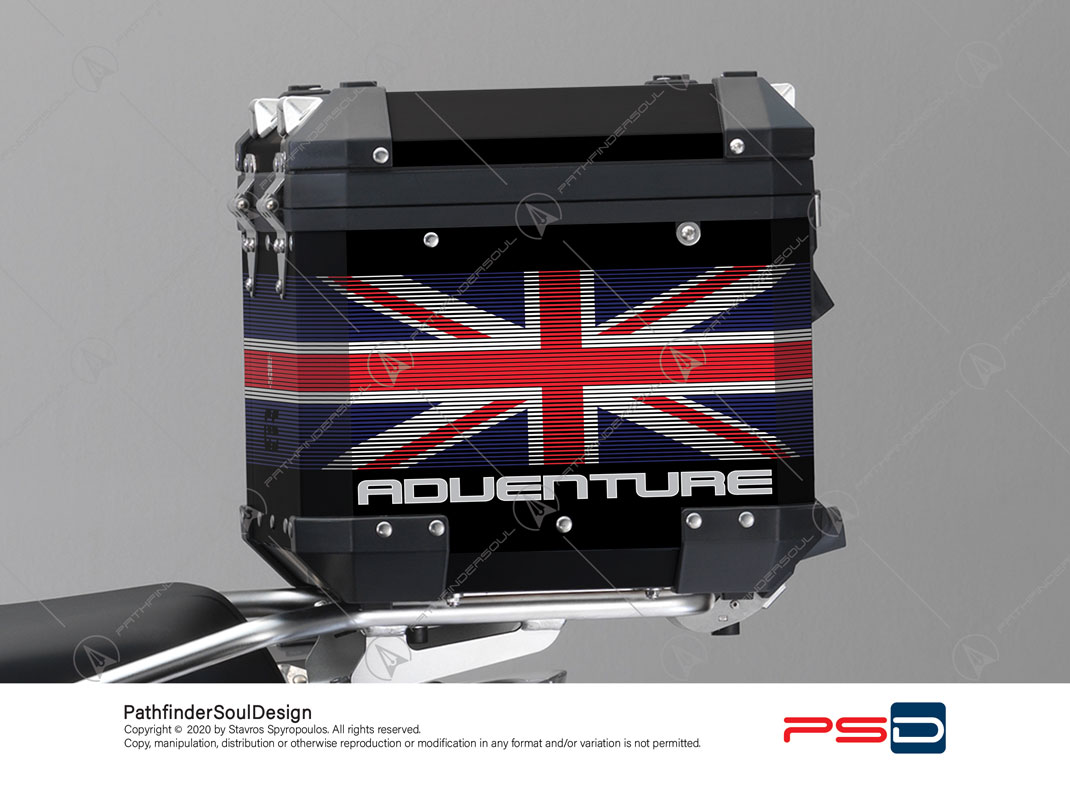 "R1250GS ADVENTURE HP STYLE BMW ALUMINIUM TOP BOX ""ONE WORLD"" STICKERS KIT#42031"