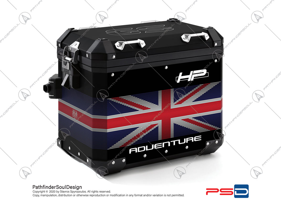 "R1250GS ADVENTURE HP STYLE BMW ALUMINIUM PANNIERS ""ONE WORLD"" STICKERS KIT#42031"