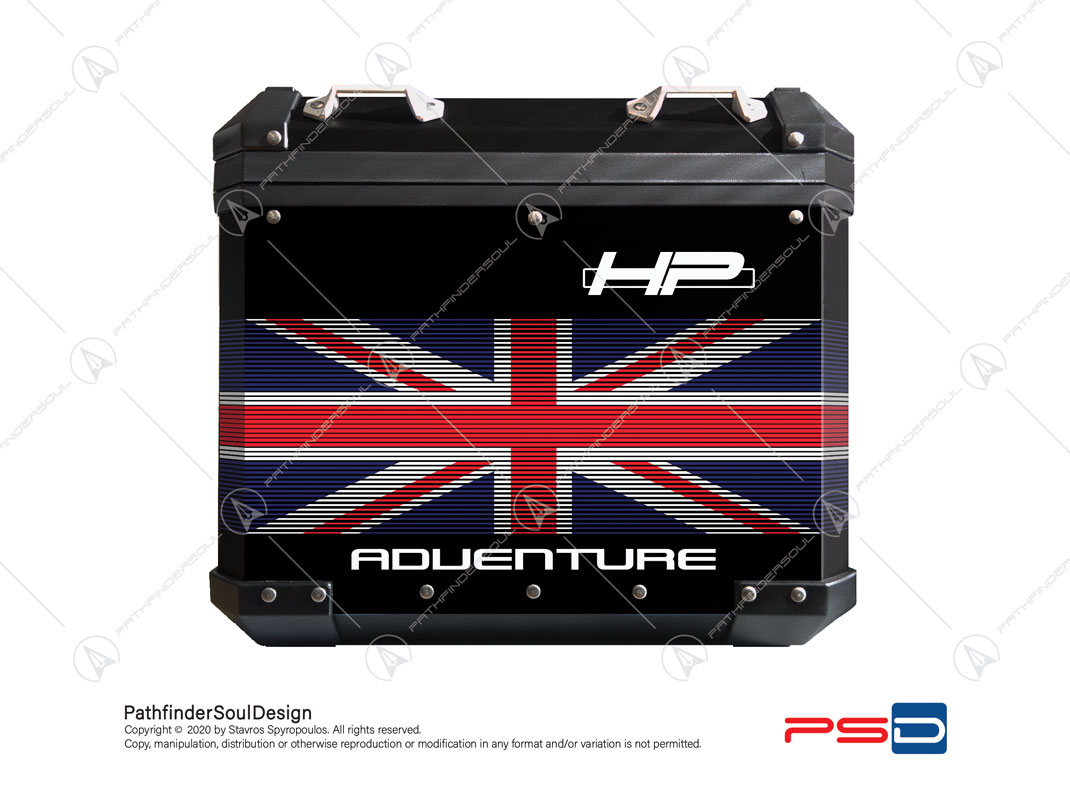 R1250 GSA HP STYLE BMW ALUMINIUM SIDE CASE UNION JACK UK FLAG STICKERS