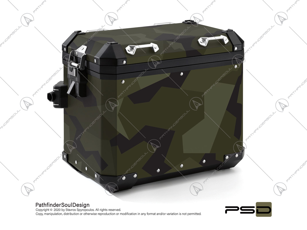 "R1200GS ADVENTURE OLIVE GREEN BMW ALUMINIUM PANNIERS ""SWEDISH M90 CAMO"" STICKERS KIT#03336"