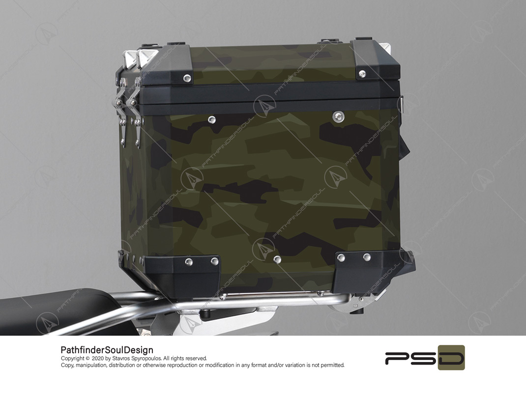 "R1250GS ADVENTURE STYLE EXCLUSIVE BMW ALUMINIUM TOP BOX ""MODERN CAMO"" STICKERS KIT#44254"