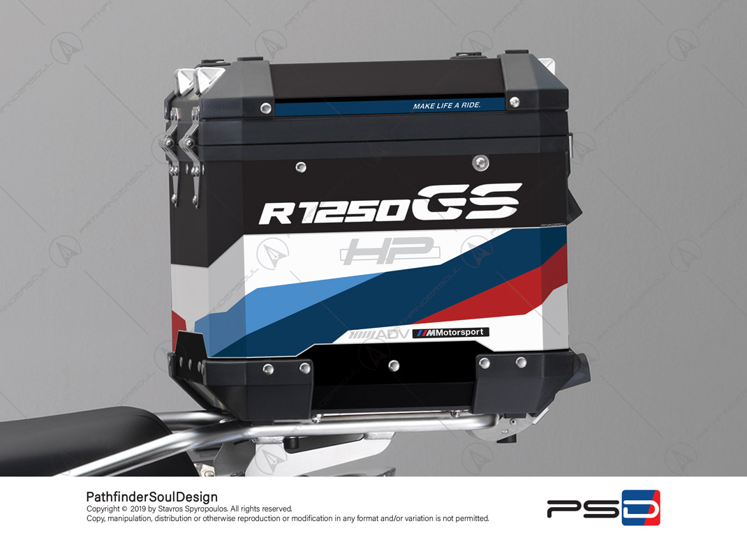 "R1250GS ADVENTURE HP STYLE BMW ALUMINIUM TOP BOX ""MOTORSPORT"" STICKERS KIT#32217"