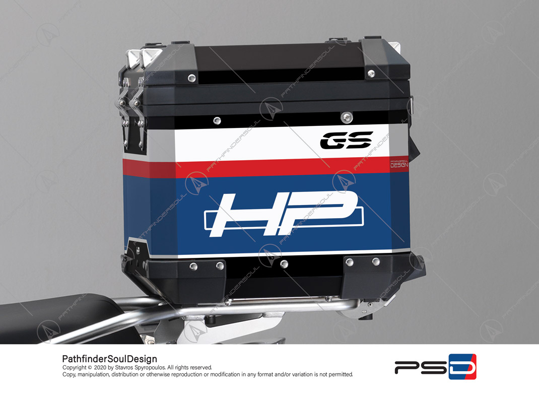 "R1250GS ADVENTURE HP STYLE BMW ALUMINIUM TOP BOX ""RACING"" STICKERS KIT#45265"