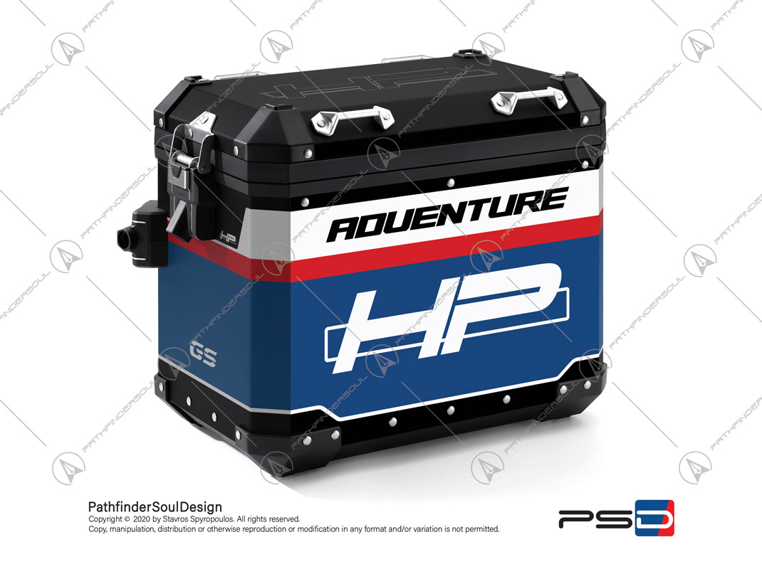"R1250GS ADVENTURE HP STYLE BMW ALUMINIUM PANNIERS ""RACING"" STICKERS KIT#45266"
