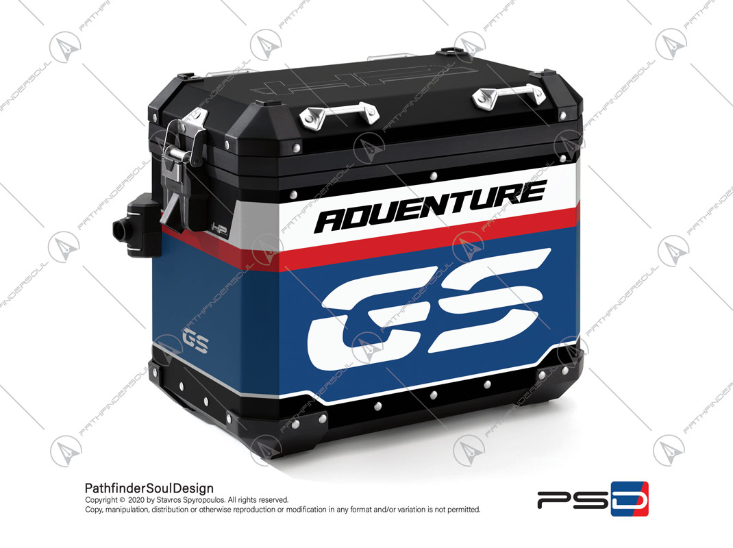 "R1250GS ADVENTURE HP STYLE BMW ALUMINIUM PANNIERS ""RACING"" STICKERS KIT#45267"