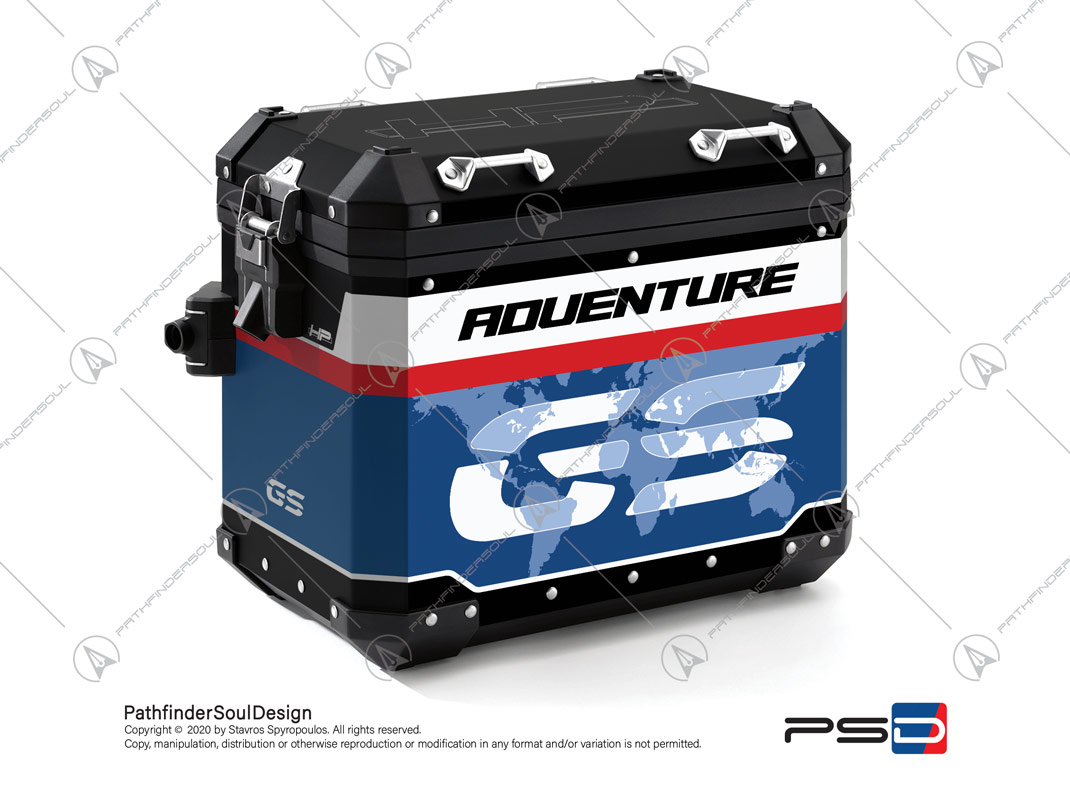 "R1250GS ADVENTURE HP STYLE BMW ALUMINIUM PANNIERS ""RACING"" STICKERS KIT#45268"