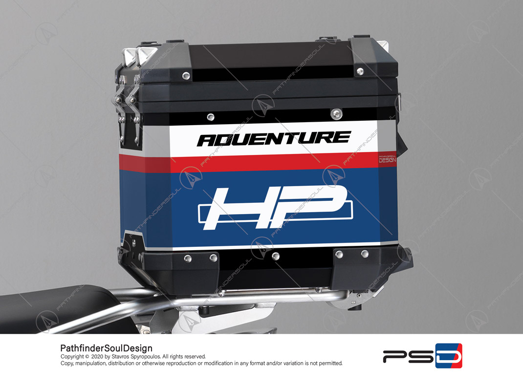 "R1250GS ADVENTURE HP STYLE BMW ALUMINIUM TOP BOX ""RACING"" STICKERS KIT#45266"