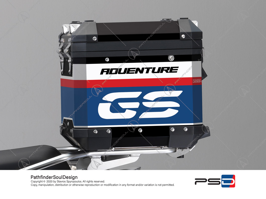 "R1250GS ADVENTURE HP STYLE BMW ALUMINIUM TOP BOX ""RACING"" STICKERS KIT#45267"