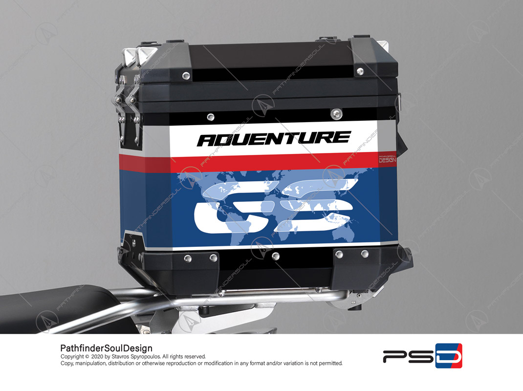 "R1250GS ADVENTURE HP STYLE BMW ALUMINIUM TOP BOX ""RACING"" STICKERS KIT#45268"