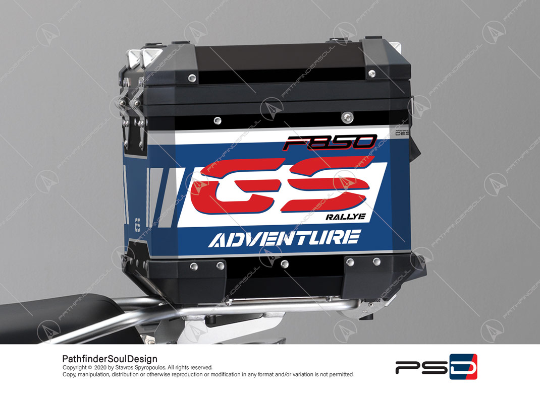 "F850GS ADVENTURE STYLE RALLYE BMW ALUMINIUM TOP BOX ""RACING"" STICKERS KIT#45285"