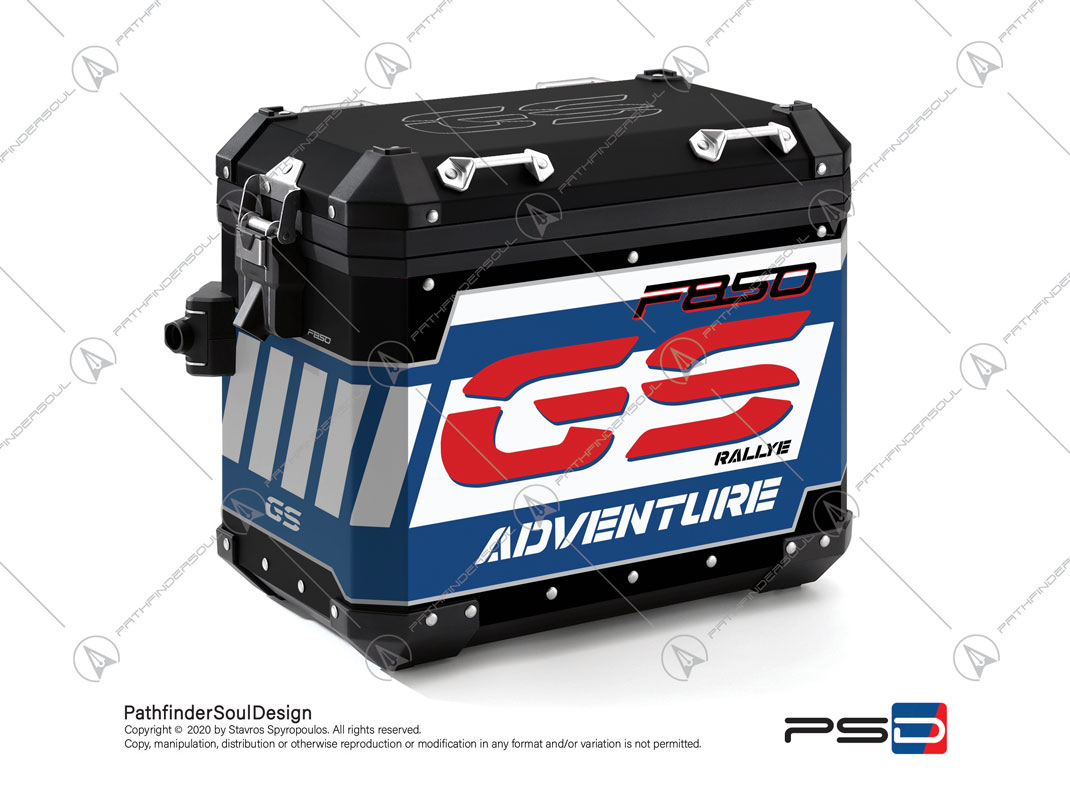 "F850GS ADVENTURE STYLE RALLYE BMW ALUMINIUM PANNIERS ""RACING"" STICKERS KIT#45285"
