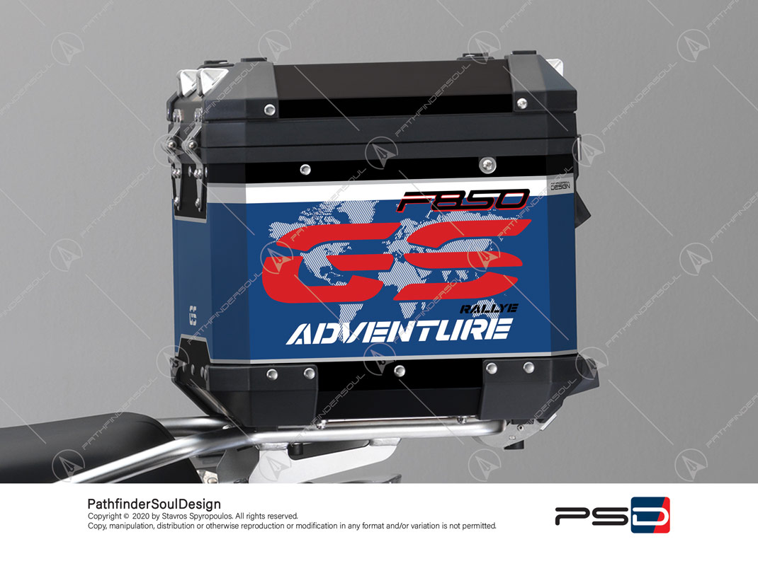 "F850GS ADVENTURE STYLE RALLYE BMW ALUMINIUM TOP BOX ""RACING"" STICKERS KIT#45286"