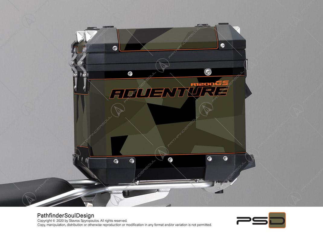 "R1200GS ADVENTURE OLIVE GREEN BMW ALUMINIUM TOP BOX ""SWEDISH M90 CAMO"" STICKERS KIT#03240"