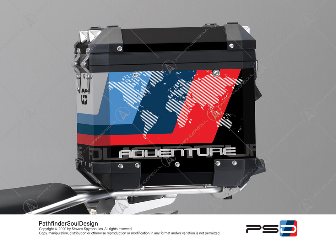 "R1200GS ADVENTURE ALPINE WHITE BMW ALUMINIUM TOP BOX ""ESSENCE"" STICKERS KIT#38296"