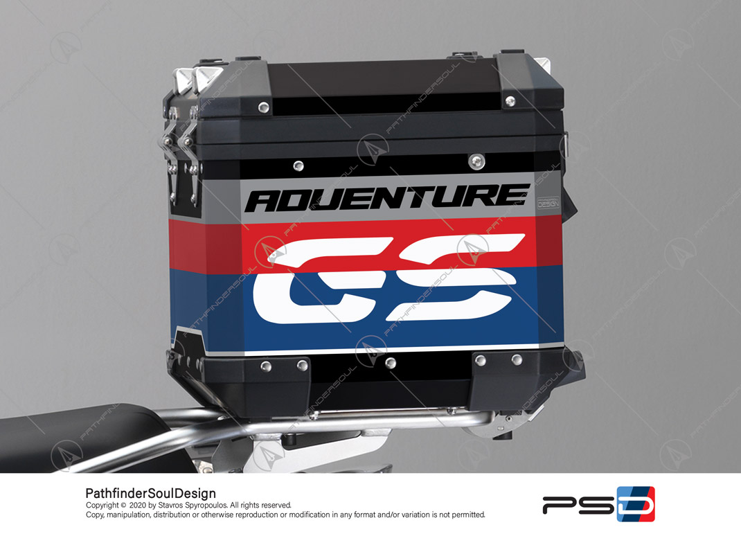 "R1200GS RALLYE BMW ALUMINIUM TOP BOX ""RACING"" STICKERS KIT#45267"