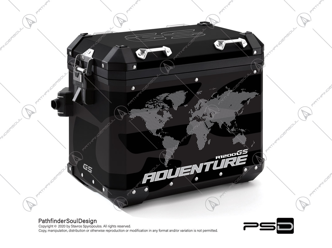 "R1200GS ADVENTURE TRIPLE BLACK BMW ALUMINIUM PANNIERS ""ONE WORLD"" STICKERS KIT#34812"