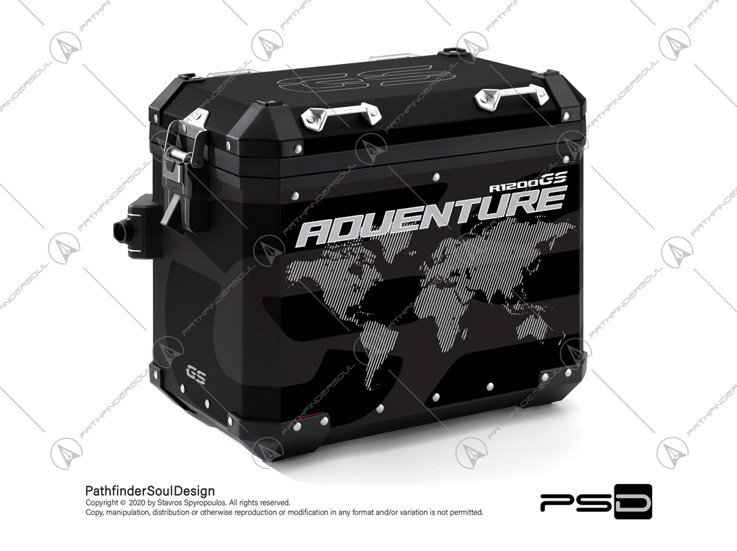 "R1200GS ADVENTURE TRIPLE BLACK BMW ALUMINIUM PANNIERS ""ONE WORLD"" STICKERS KIT#34813"