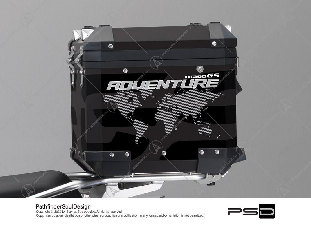 "R1200GS ADVENTURE TRIPLE BLACK BMW ALUMINIUM TOP BOX ""ONE WORLD"" STICKERS KIT#34812"