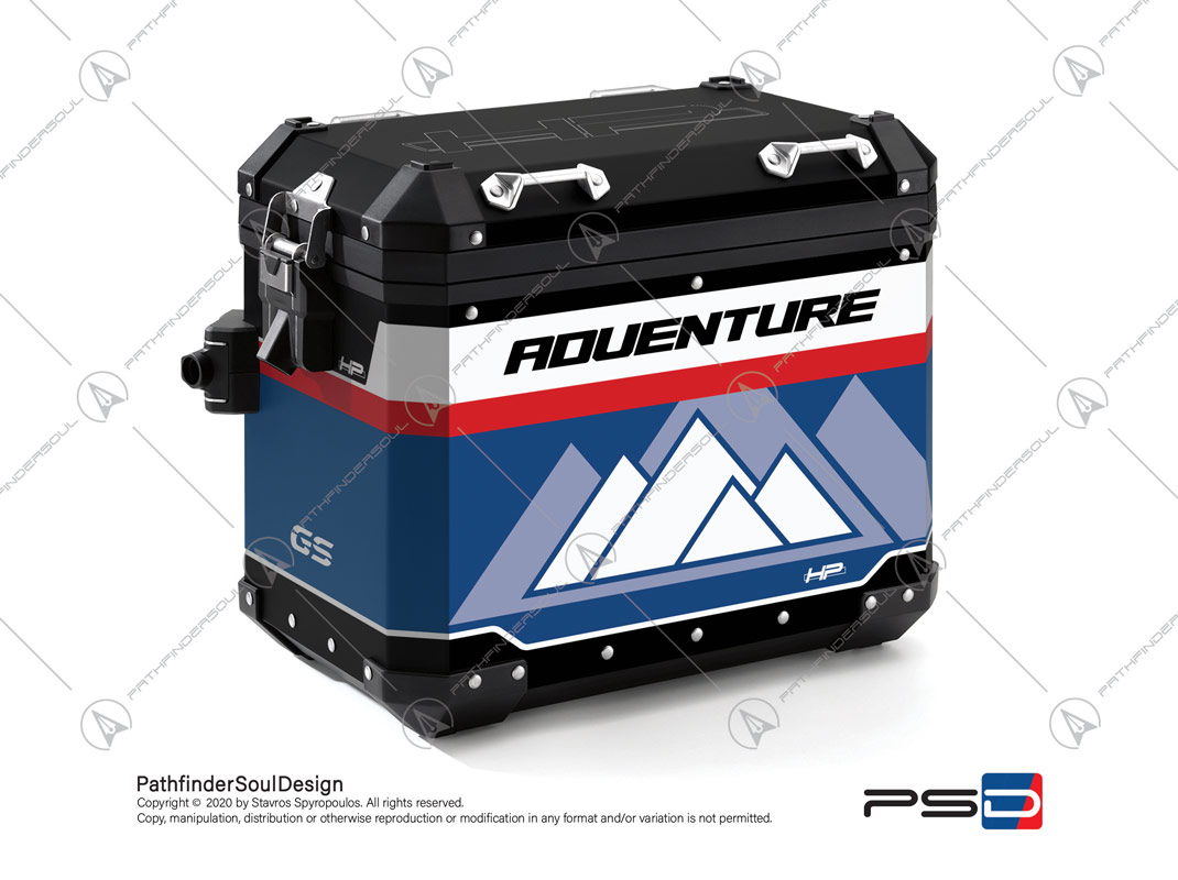 "R1250GS ADVENTURE HP STYLE BMW ALUMINIUM PANNIERS ""RACING"" STICKERS KIT#45270"