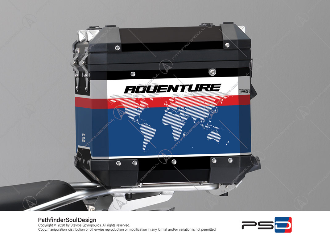 "R1250GS ADVENTURE HP STYLE BMW ALUMINIUM TOP BOX ""RACING"" STICKERS KIT#45269"