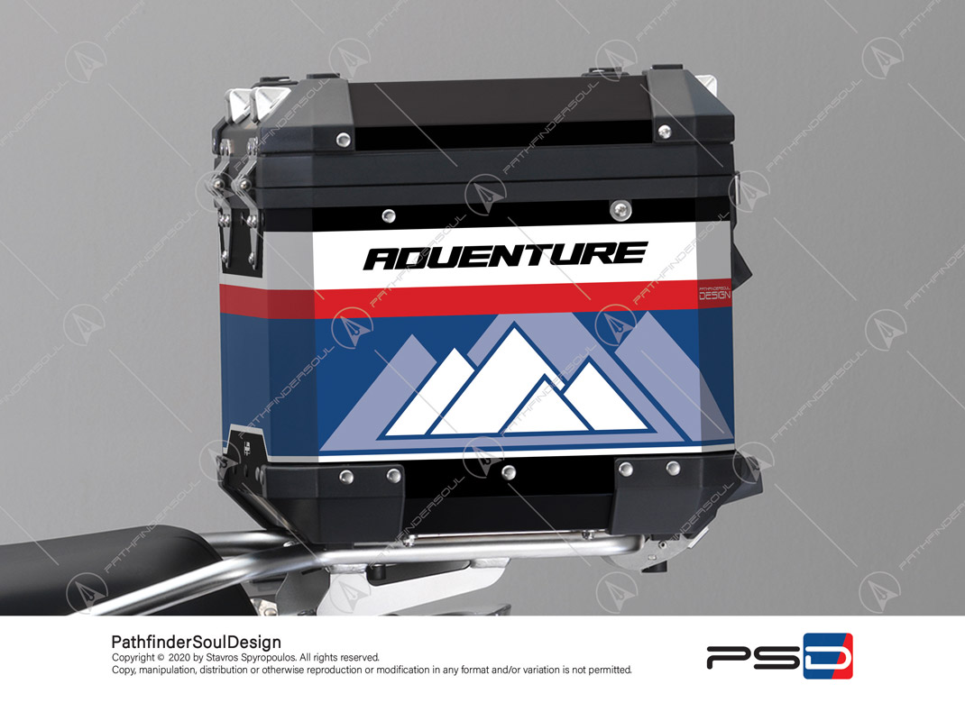 "R1250GS ADVENTURE HP STYLE BMW ALUMINIUM TOP BOX ""RACING"" STICKERS KIT#45270"
