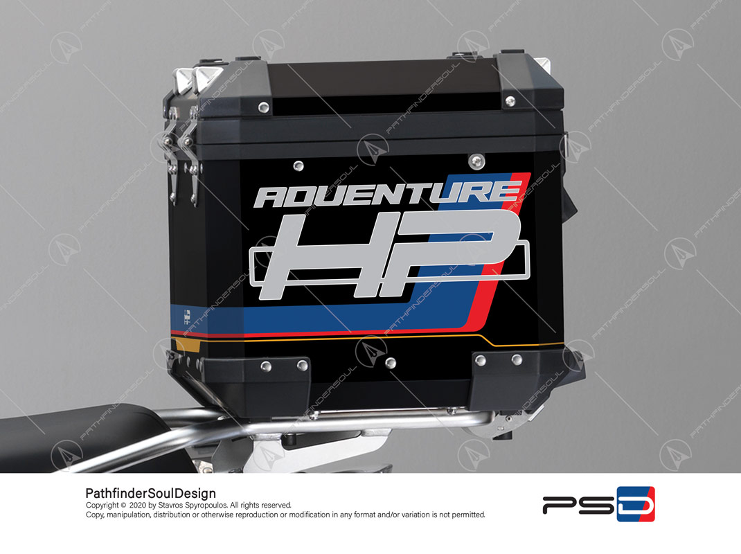 "R1250GS ADVENTURE HP STYLE BMW ALUMINIUM TOP BOX ""HP"" STICKERS KIT#18904"