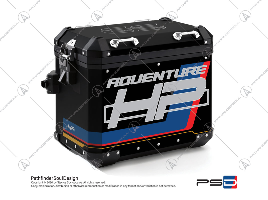 "R1250GS ADVENTURE HP STYLE BMW ALUMINIUM PANNIERS ""HP"" STICKERS KIT#18904"