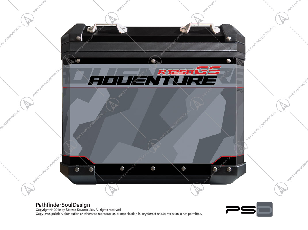 R1250 GSA ICE GRAY ALU PANNIERS SIDE CASES STICKERS
