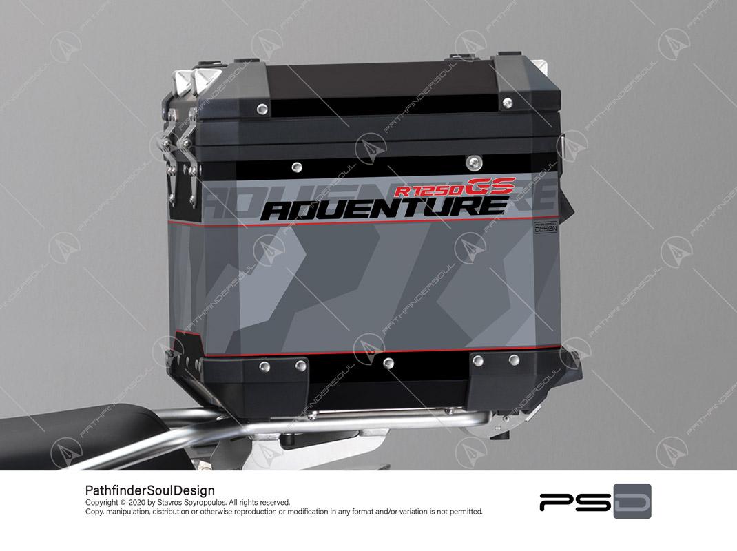 "R1250GS ADVENTURE ICE GREY BMW ALUMINIUM TOP BOX ""RAW CAMO"" STICKERS KIT#45901"