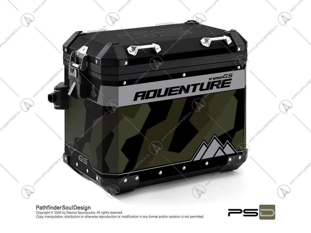 "R1250GS ADVENTURE STYLE EXCLUSIVE BMW ALUMINIUM PANNIERS ""RAW CAMO"" STICKERS KIT#45803"