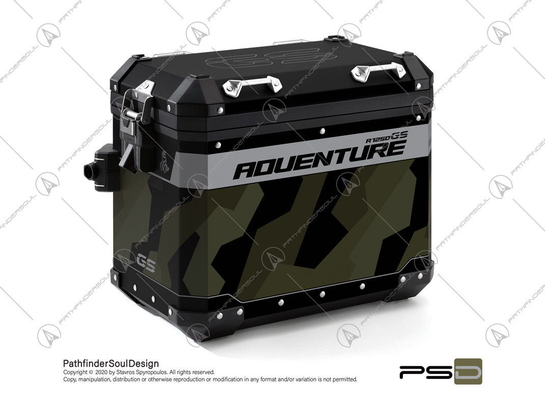 "R1250GS ADVENTURE STYLE EXCLUSIVE BMW ALUMINIUM PANNIERS ""RAW CAMO"" STICKERS KIT#45801"