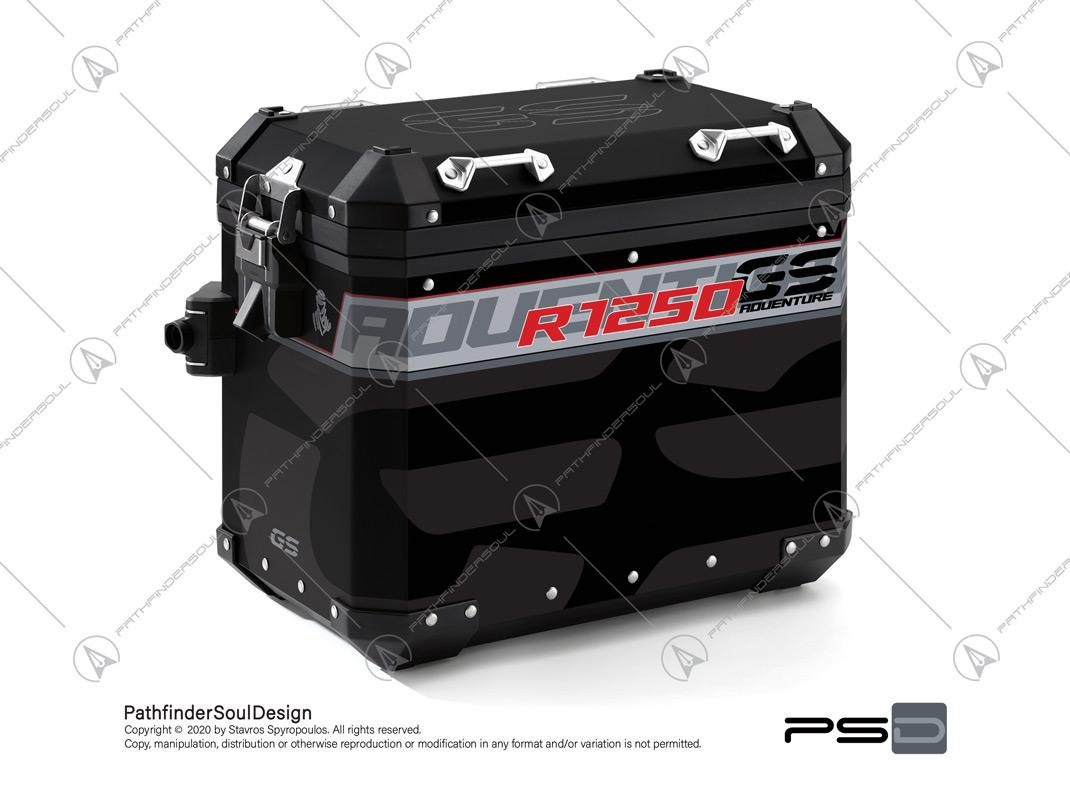 "R1250GS ADVENTURE ICE GREY BMW ALUMINIUM PANNIERS ""TRAVELLER"" STICKERS KIT#45270"