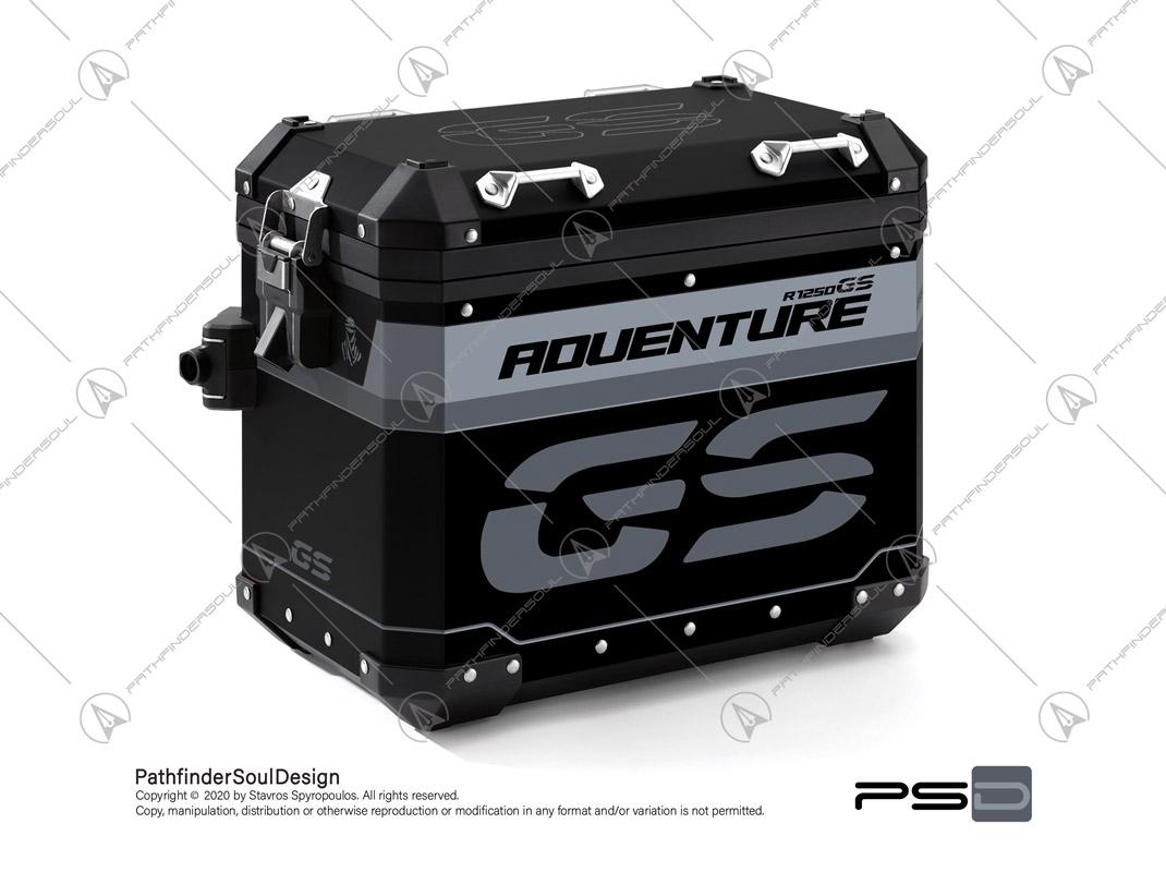 "R1250GS ADVENTURE ICE GREY BMW ALUMINIUM PANNIERS ""TRAVELLER"" STICKERS KIT#45267"