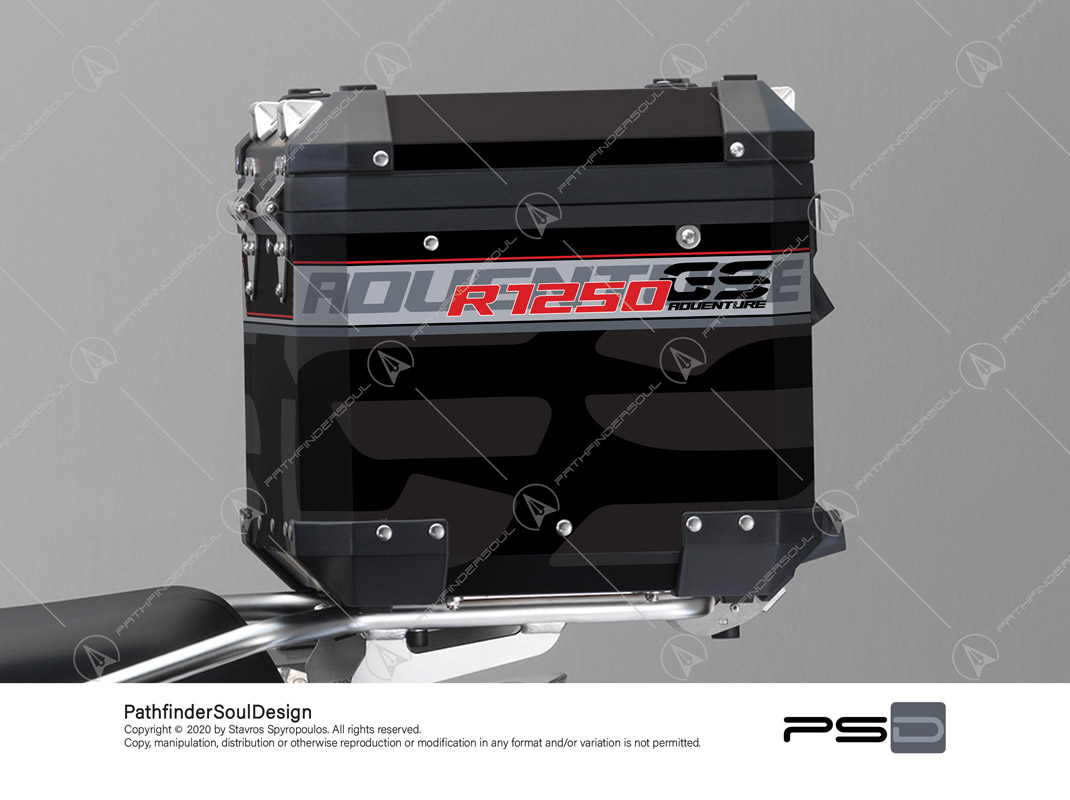 "R1250GS ADVENTURE ICE GREY BMW ALUMINIUM TOP BOX ""TRAVELLER"" STICKERS KIT#45270"