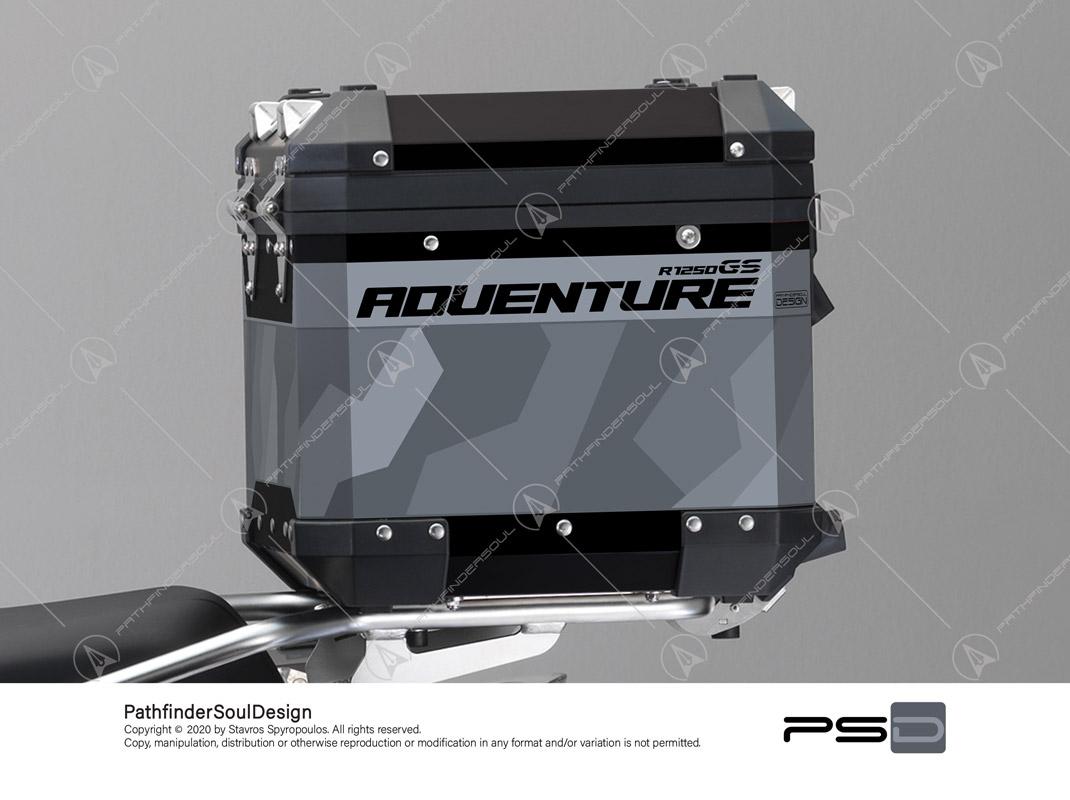 "R1250GS ADVENTURE ICE GREY BMW ALUMINIUM TOP BOX ""RAW CAMO"" STICKERS KIT#45800"