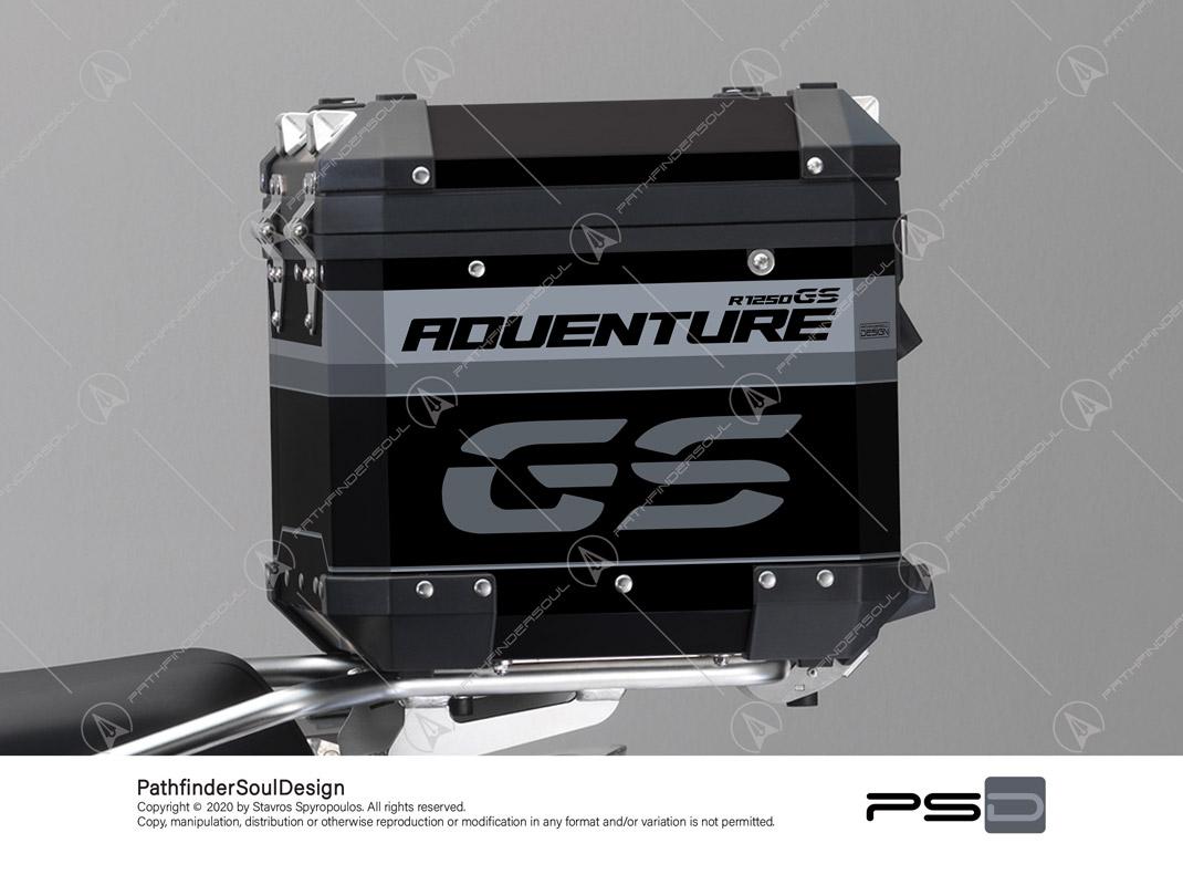 "R1250GS ADVENTURE ICE GREY BMW ALUMINIUM TOP BOX ""TRAVELLER"" STICKERS KIT#45267"