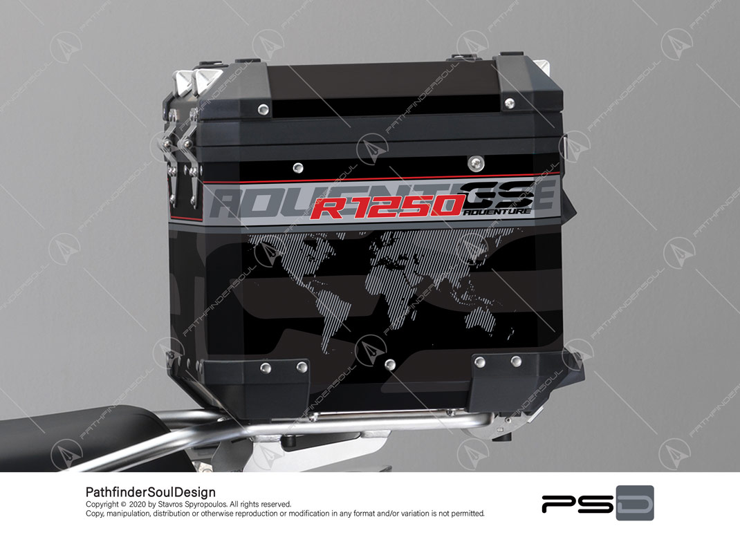 "R1250GS ADVENTURE ICE GREY BMW ALUMINIUM TOP BOX ""TRAVELLER"" STICKERS KIT#45272"