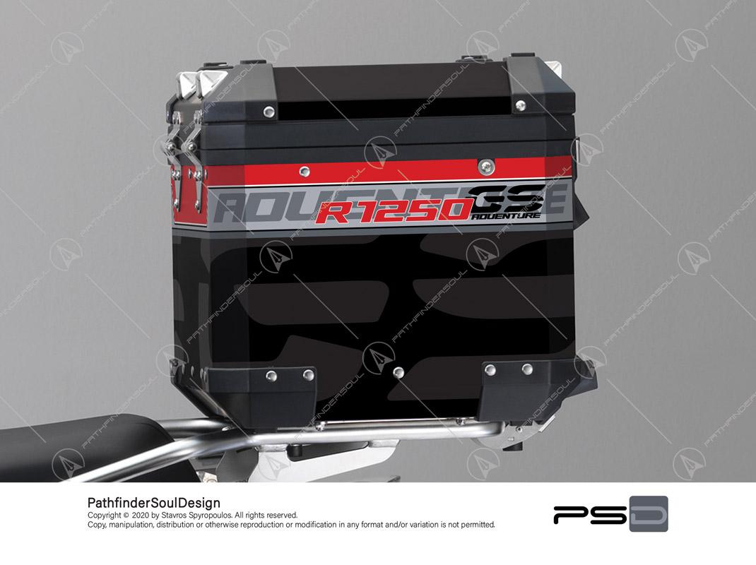 "R1250GS ADVENTURE ICE GREY BMW ALUMINIUM TOP BOX ""TRAVELLER"" STICKERS KIT#45271"