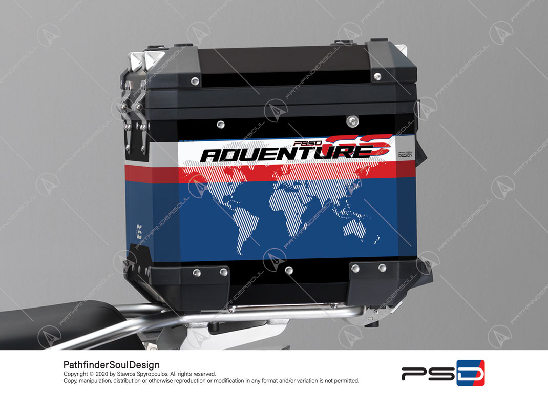 "F850GS ADVENTURE STYLE RALLYE BMW ALUMINIUM TOP BOX ""RACING"" STICKERS KIT#45271"