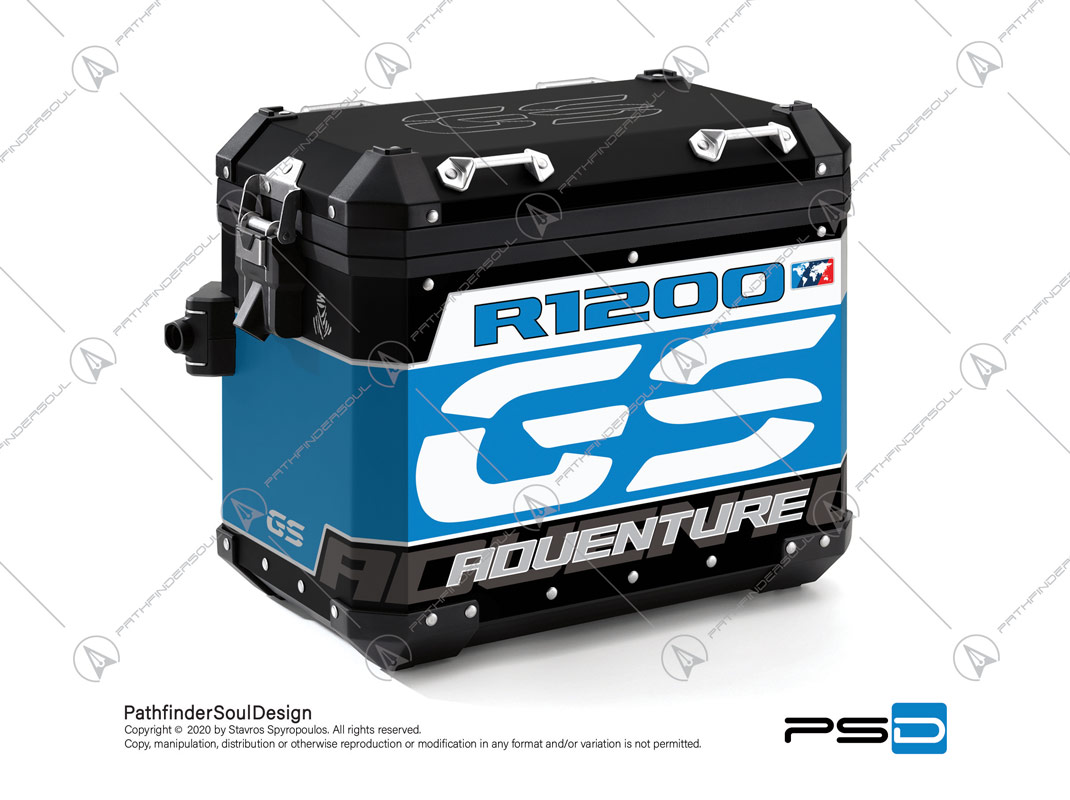 "R1200GS ADVENTURE CORDOBA BLUE BMW ALUMINIUM PANNIERS ""TRAVELLER"" STICKERS KIT#34916"
